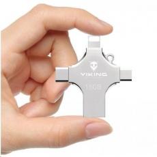 Viking USB Flash disk 3.0 4v1 s koncovkou Lightning/Micro USB/USB/USB-C, 16 GB, stříbrná