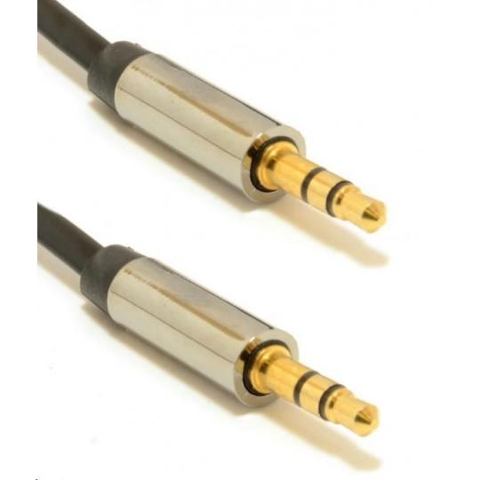 GEMBIRD Kabel CABLEXPERT přípojný jack 3,5mm M/M, PREMIUM QUALITY, pozlacený, 1m