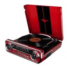 ION Mustang LP Red Polo-automatický gramofon vyniká neotřelým retro vzhledem inspirovaný Fordem Mustangem