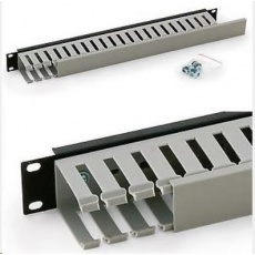"""TRITON 19"""" vyvazovací panel 1U jednostranná plastová lišta, šedo-černá"""
