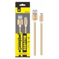 PLUS datový a nabíjecí kabel 8050 univerzální pro konektory micro USB a Lightning, zlatá