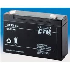 Baterie - CTM CT 6-12L (6V/12Ah - Faston 250), životnost 5let