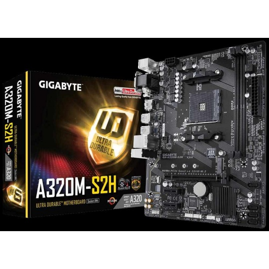 BAZAR GIGABYTE MB Sc AM4 A320M-S2H, AMD A320, 2xDDR4, VGA, mATX - repair