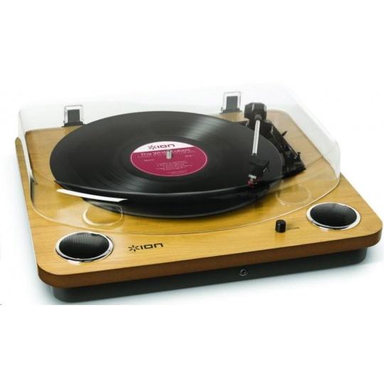 ION Max LP Wood Polo-automatický gramofon vám umožní poslech oblíbených vinylových kolekcí pomocí stereo reproduktorů