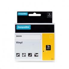 PRINTLINE kompatibilní páska s DYMO 1805429, 24mm x 5,5m, bílý tisk / červený podklad, RHINO, vinylová