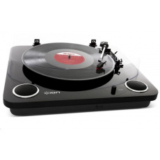 ION Max LP Black Polo-automatický gramofon vám umožní poslech oblíbených vinylových kolekcí pomocí stereo reproduktorů