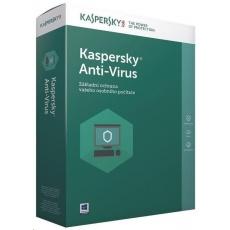 Kaspersky Anti-Virus 2019 CZ, 2PC, 1 rok, obnovení licence, elektronicky