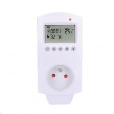 Solight termostaticky spínaná zásuvka, zásuvkový termostat, 230V/16A, režim vytápění nebo chlazení, různé teplotní režim