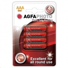 AgfaPhoto zinková baterie AAA, blistr 4ks