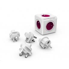 Allocacoc PowerCube ReWirable + Travel Plugs, white/pink