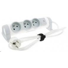 Legrand - predlžovačka s vypínačom a indikáciou zap./vyp., 3 zásuvky, dĺžka káblu 3m, možnosť meniť orientáciu zásuviek