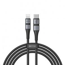 Baseus BMX Double-deck Mfi nabíjecí / datový kabel USB-C / Lightning PD 18W 1,8m, šedá-černá