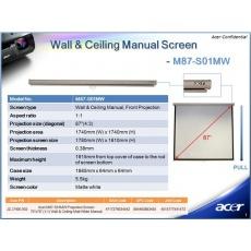 ACER Projekční plátno M90-W01MG Projection Screen, 1960x1100, 90'' (16:9) Wall & Ceiling Gray Manual