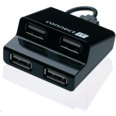 CONNECT IT USB 2.0 hub STEP 4 porty, černý