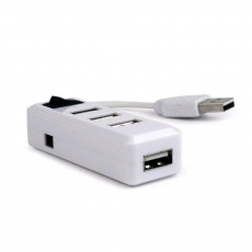 GEMBIRD USB hub, 2.0, 4 port, vypínač, bílý