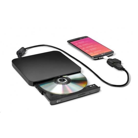 HITACHI LG - externí mechanika DVD-W/CD-RW/DVD±R/±RW/RAM/M-DISC GP95NB70, Ultra Slim, OTG konektor, Black, box+SW