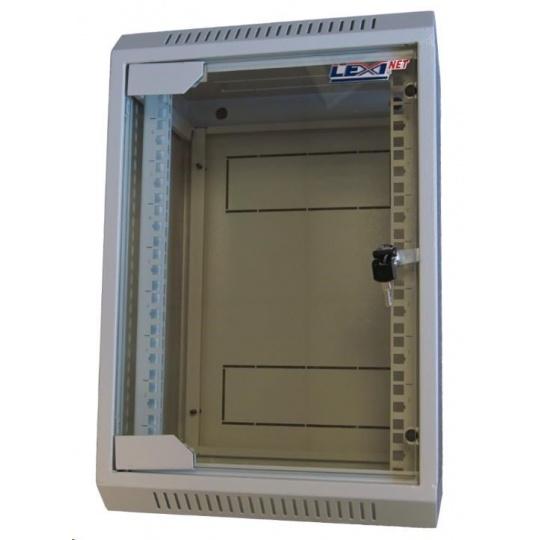 """LEXI 10"""" nástěnný rozvaděč 9U, šířka 310mm, hloubka 260mm, skleněné dveře, svařovaná konstrukce, šedý"""
