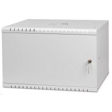 """LEXI 19"""" nástěnný rozvaděč Basic 6U, šířka 520mm, hloubka 450mm, plechové dveře, bez zad, šedý"""