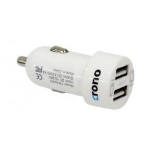 CRONO univerzální USB auto nabíječka, 2x USB, 2400 mA, bílá